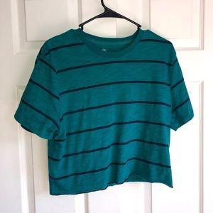 teal striped shirt